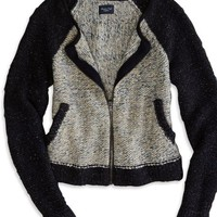 AEO Women's Varsity Zip Cardigan (Navy)