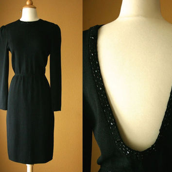 VTG 70s St. John by Marie Gray Beaded Sweater Dress Santana Knit Cocktail Party Shift Dress Retro Wiggle Open Back Pencil Skirt LBD Formal M
