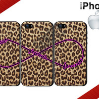 Best Friends iPhone Case - iPhone 4 Case or iPhone 5 Case - Infinity - Leopard Print iPhone Case - Three Case Set