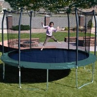 15 ft. Round Trampoline and Enclosure Combo w Green Spring Pad