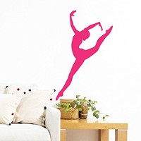 Wall Decal Vinyl Sticker Decals Art Home Decor Murals Decal Ballerina Acrobatics Girl Ballet Dancer Gymnastics Sport Jump Bedroom Dance Studio Kids Children Gift Nursery Dorm Bedroom AN202