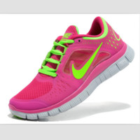 NIKE net surface wear-resistant sneakers casual shoes Pink white fluorescent green