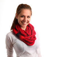 Red chain infinity scarf with felt decor