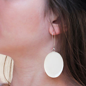 Big Earrings alabaster white minimal simple modern dangle long drop oval surgical steel lightweight pop teenager gift greek summer style