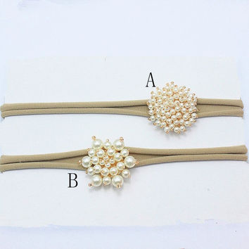 Baby ivory pearl flower Headband wedding gold beads Bowknot hairband newborn Nylon Headband Hair Accessories