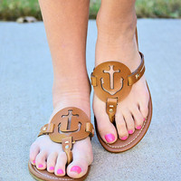PIERRE DUMAS-Anchor Sandals-Tan