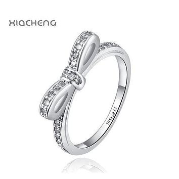 European Style Sterling Silver 925 Jewelry Butterfly Rings High Quality For Women with Full Crystal Women Pandora rings
