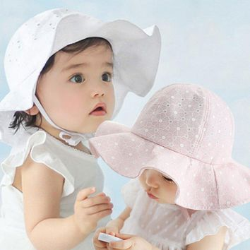Baby Girls Hat Summer Sun Beach Bonnet Cap Toddler Kids Outdoor Bucket Hats 1-4Y