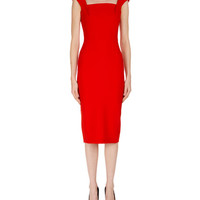 Roland Mouret Matlock Square-Neck Cap-Sleeve Sheath Dress