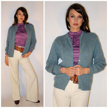 Vintage 50s CARDIGAN Sweater, WOOL Minimalist Slate Blue HEATHERED Cable Knit Button Down, Mad Men Cardigan by Garland
