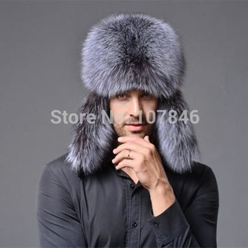 Men's Real Fox or Raccoon Fur & Leather Bomber Hat with Ear Protectors