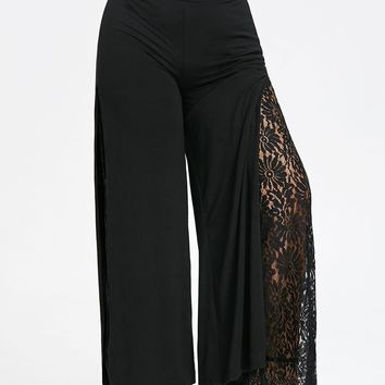 High Slit Lace Palazzo Pants - Black