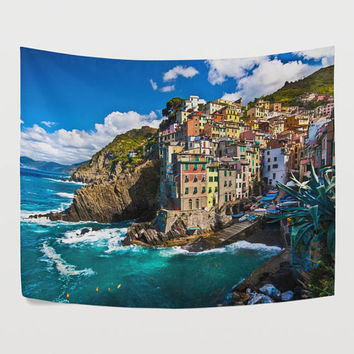 Italy Seaside Fisherman Village Tapestry Wall Hanging European Nature Landscape Wall Decor Art for Living Room Bedroom Dorm