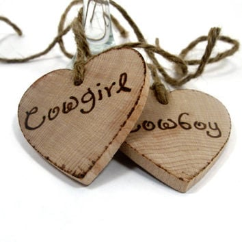 Rustic Wedding tags. Set of two custom Wedding wooden keepsake hearts  Cowboy and Cowgirl.