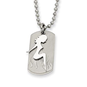 Men's Stainless Steel Lady Dog Tag Necklace
