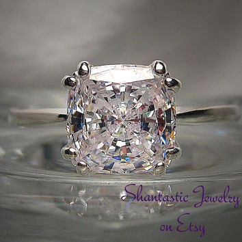 High Quality Antique Cushion Cut Warm White Cubic Zirconia Sterling Silver or 14k Gold Ring Made to Order