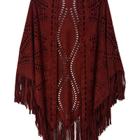 Burgundy Cut Tasseled Cape