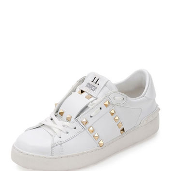 Valentino Garavani Rockstud Untitled Leather Sneaker, White