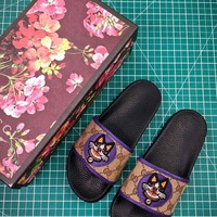 PEAP2Q Gucci Leather Slide With Bow Fashion Style 3
