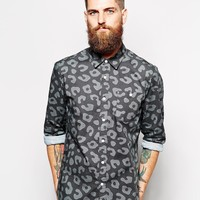 ASOS Shirt In Long Sleeve With Leopard Print at asos.com