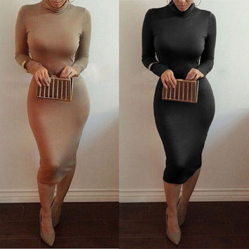 2015 Brand New Women Dress Black Coffee Long Sleeve Slim Sexy Bodycon Club Dresses Vestidos Femininas Casual Work Weak = 1932739012