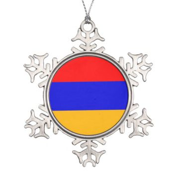 Snowflake Ornament with Armenia Flag
