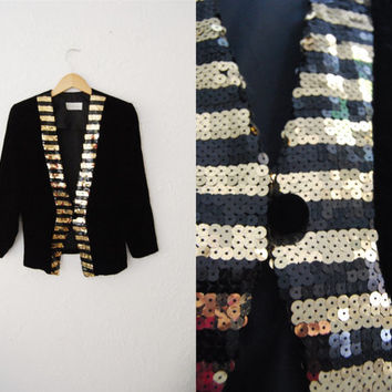 Vintage 90s Black Velvet Sequin Stripped BlazerJacket / Party/ Trophy/ Fall Trend29