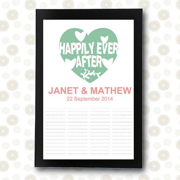 Wedding Guest Book INSTANT DOWNLOAD unique guestbook bridal showe Happily Ever After / printable pdf / editable alternative ideas signature