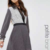 Glamorous Petite Mix And Match Printed Dress With Contrast Collar Detail at asos.com