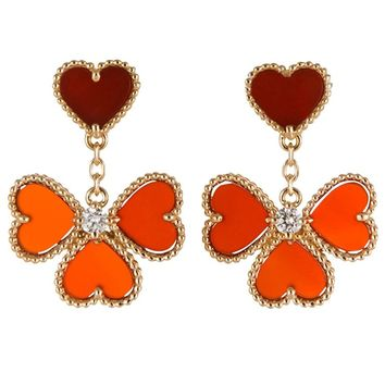 Van Cleef & Arpels Gold Diamond Carnelian Sweet Alhambra Effeuillage Earrings