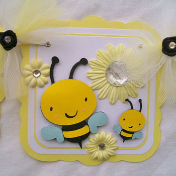 Bumble bee baby shower banner, its a girl, baby bee - READY TO SHIP