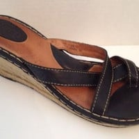 Born Shoes Womens Size 11 Brown Espadrilles Sandals Leather Wedge Heels EU 43
