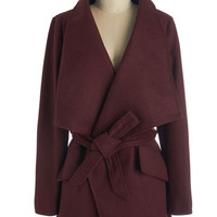 ModCloth 70s Mid-length Long Sleeve Preferred Pairing Coat in Merlot