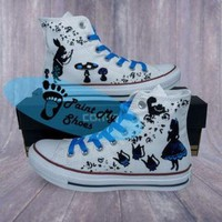 DCCKSU9 Alice In Wonderland, converse, cartoon shoes, free shipping in the US