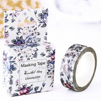 Elegant Grey Purple Flowers Japanese Washi Tape, Masking Tape, Scrapbooking Stickers, Planner Stickers, Decorative Stickers - WT138