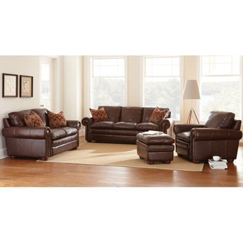 Steve Silver Company YO900L Yosemite Chestnut Loveseat with Two Accent Pillows
