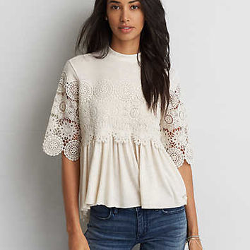 AEO Mock Neck + Lace Shirt , Cream