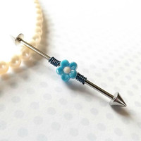 Industrial Barbell With Blue Diasy Body Jewelry Ear Jewelry Double Piercing