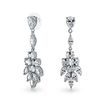 Teardrop Marquise CZ Prom Statement Dangle Earrings Silver Plated