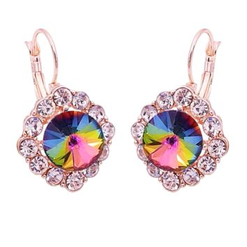 Rainbow Crystal Leverback Earrings