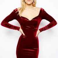 ASOS Velvet Sweetheart Bodycon Dress