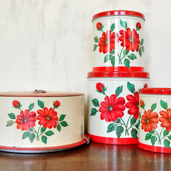 Vintage Decoware Cake Carrier and Canister Set, Red and White Tin, Red Flower Design