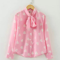 Heart Print Tie Collar Long Sleeve Blouse
