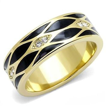 Ion Plated Gold Stainless Steel, Enamel, and CZ Ring