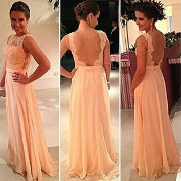Long Chiffon A-Line Formal Evening Gowns Nude Back Lace Prom Dresses Vestidos De Fiesta = 1876603780