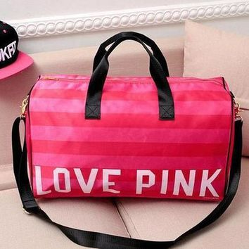 One-nice™ LOVE PINK Victoria's Secret Print Sport Gym Satchel Travel Luggage Bag