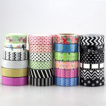 Cute 1pc 15mm * 10m Glitter Tape Love ,flowers,animals, chevrons black colors for DIY Japanese Paper Washi Tape Masking Tape 10m