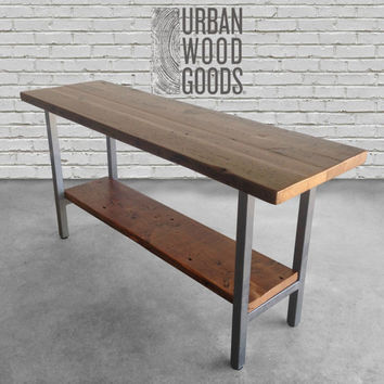 Reclaimed wood table with and steel legs in your choice of color, size and finish