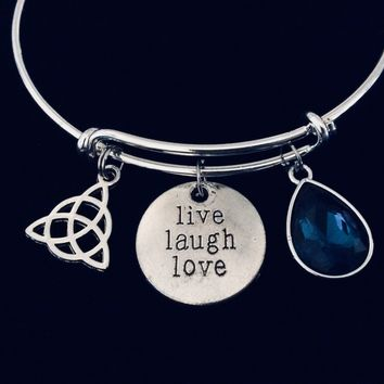 Triquetra Celtic Trinity Knot Live Love Laugh Expandable Charm Bracelet Silver Adjustable Bangle Blue Topaz One Size its All Gift