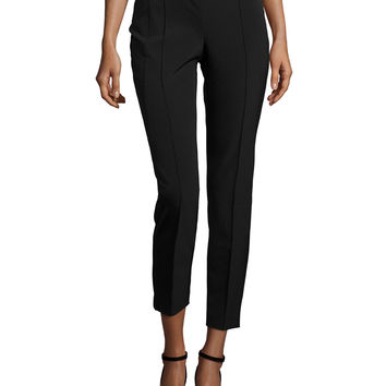 City Slim Pintucked Pants, Black, Size:
